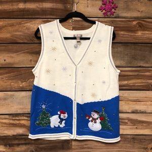 Ugly Christmas sweater snowman polar bear vest
